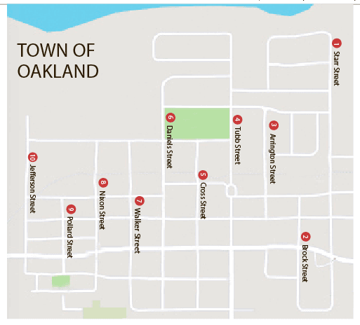 Town of Oakland Streets North South