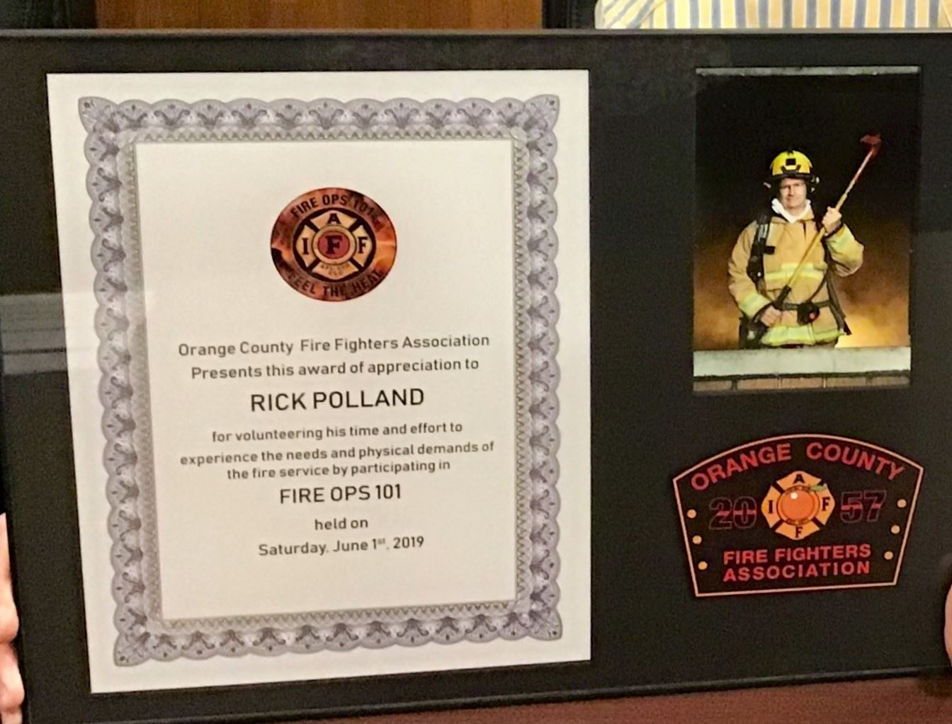 Commissioner Polland Fire Ops 101 Plaque